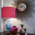 Design Tischleuchte in pink und hellblau